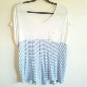 Le Lis - Blue Striped White V Neck Pocket Tee